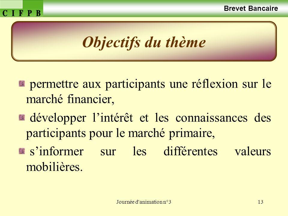 Brevet Bancaire Objectifs du thème. permettre aux participants une réflexion sur le marché financier,