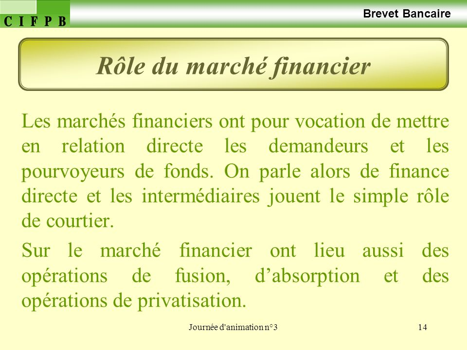 Rôle du marché financier