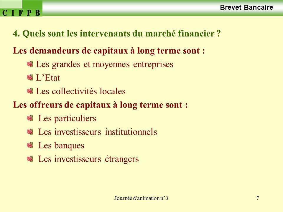 4. Quels sont les intervenants du marché financier