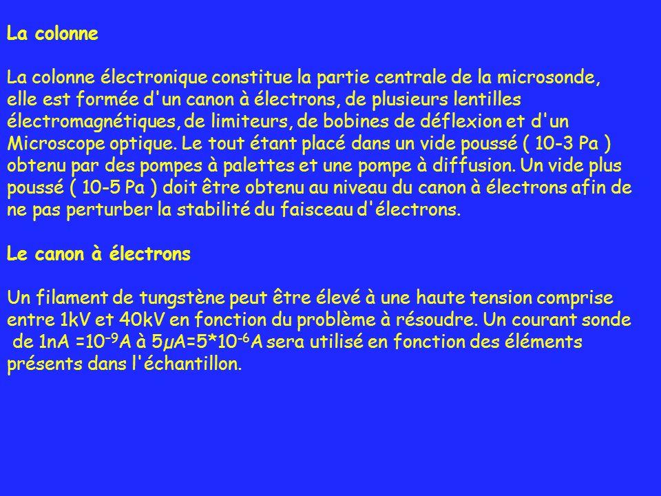 La colonne La colonne électronique constitue la partie centrale de la microsonde, elle est formée d un canon à électrons, de plusieurs lentilles.