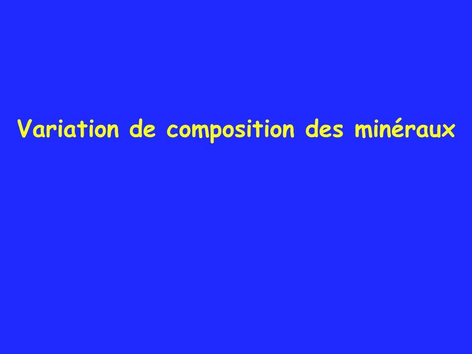 Variation de composition des minéraux