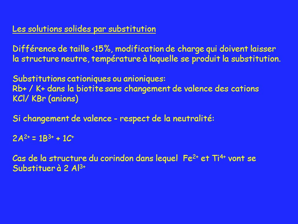 Les solutions solides par substitution