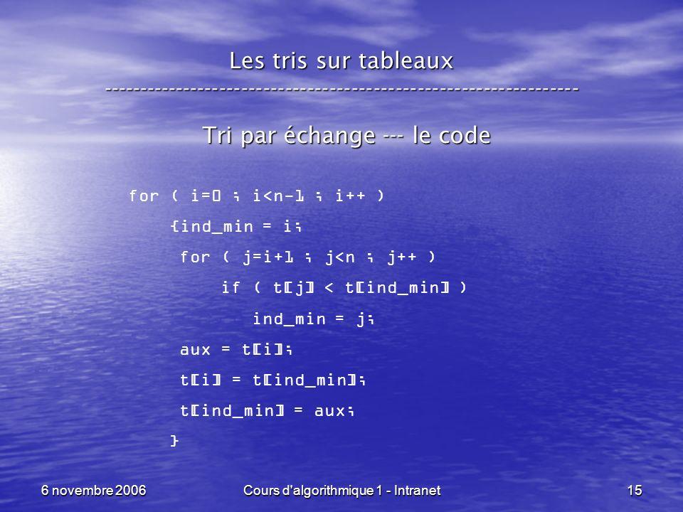 Tri par échange --- le code