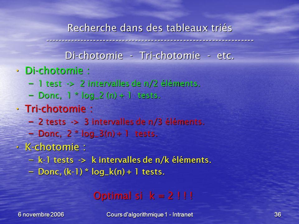 Di-chotomie - Tri-chotomie - etc.