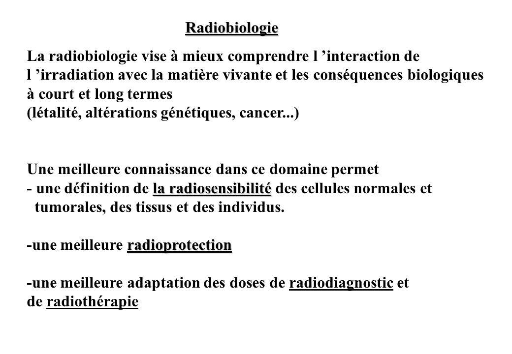 Radiobiologie La radiobiologie vise à mieux comprendre l 'interaction de. l 'irradiation avec la matière vivante et les conséquences biologiques.