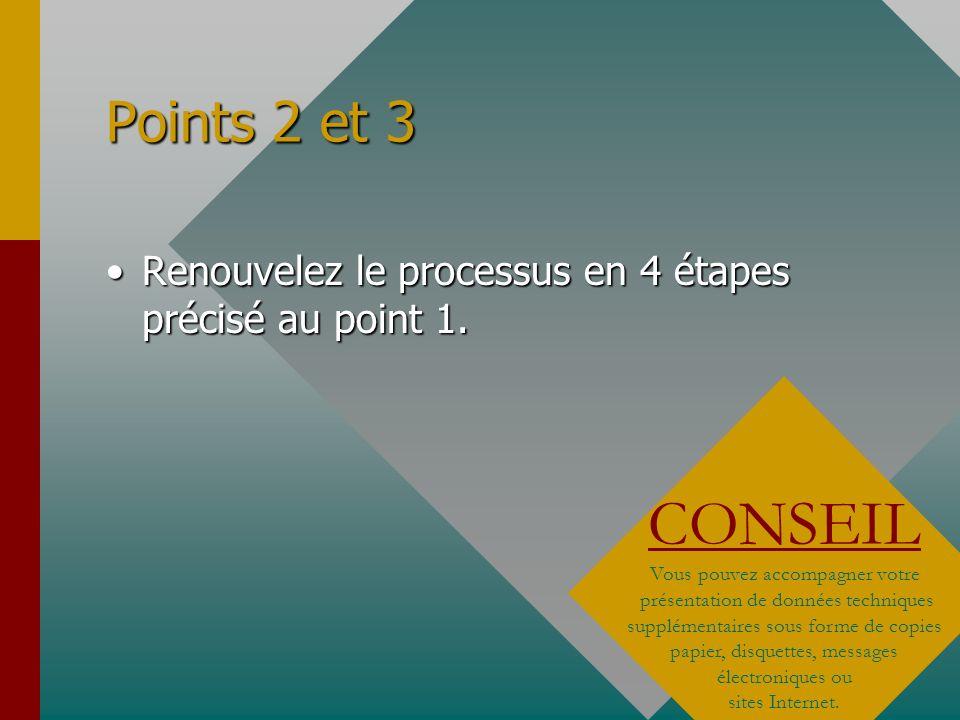 Points 2 et 3 Renouvelez le processus en 4 étapes précisé au point 1. CONSEIL.