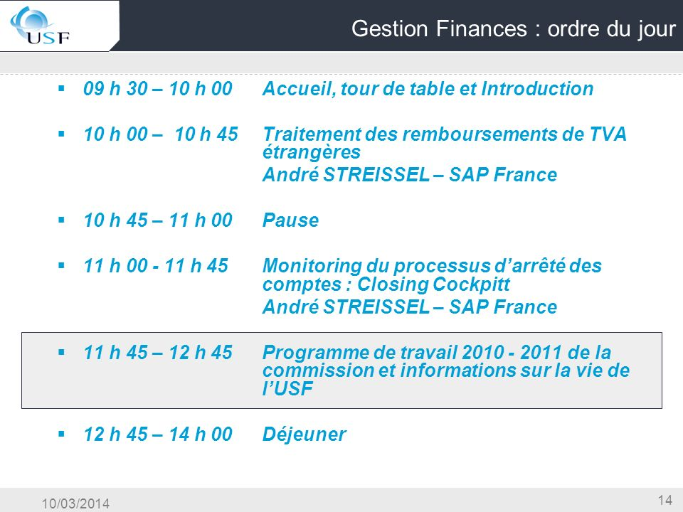 Gestion Finances : ordre du jour