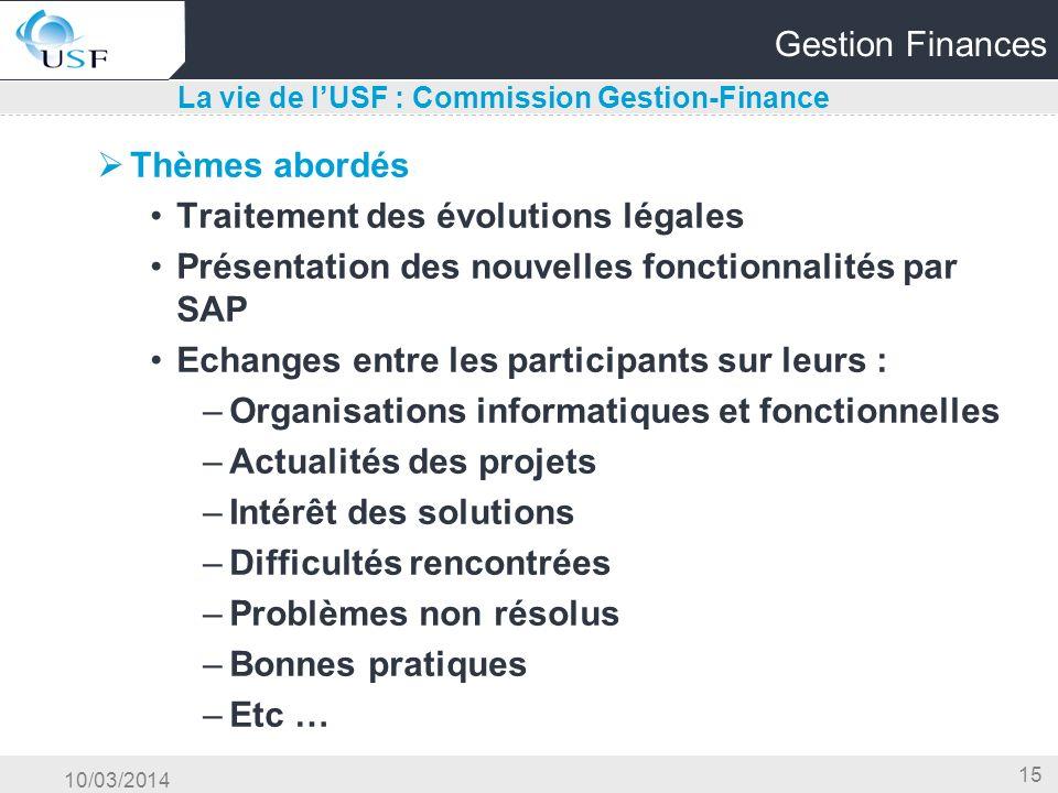 La vie de l'USF : Commission Gestion-Finance