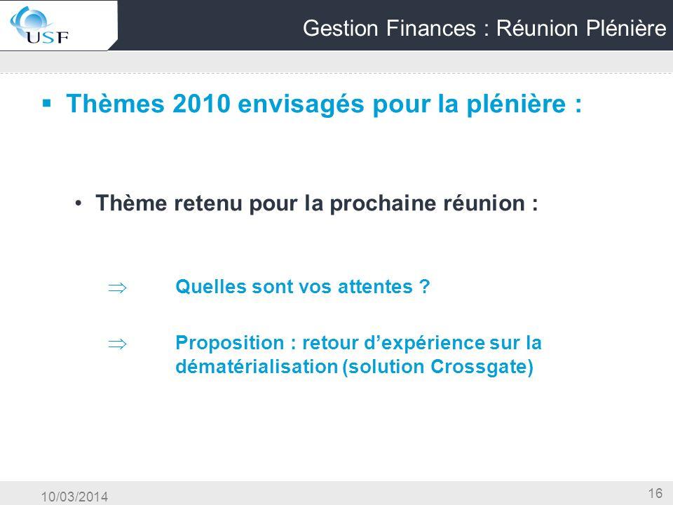 Gestion Finances : Réunion Plénière