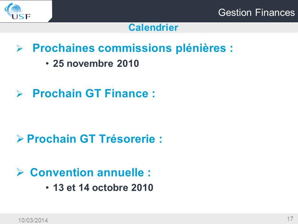 Prochain GT Trésorerie : Convention annuelle :