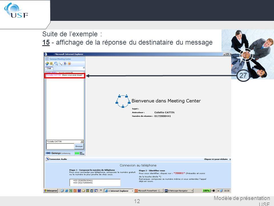 15 - affichage de la réponse du destinataire du message