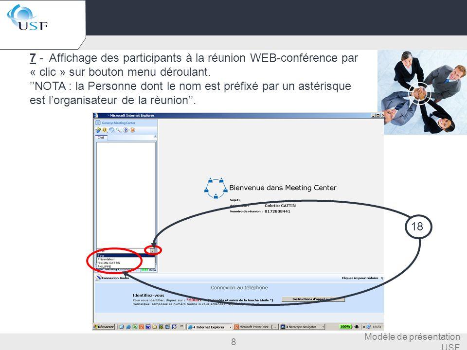 7 - Affichage des participants à la réunion WEB-conférence par « clic » sur bouton menu déroulant.
