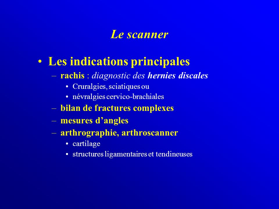 Les indications principales