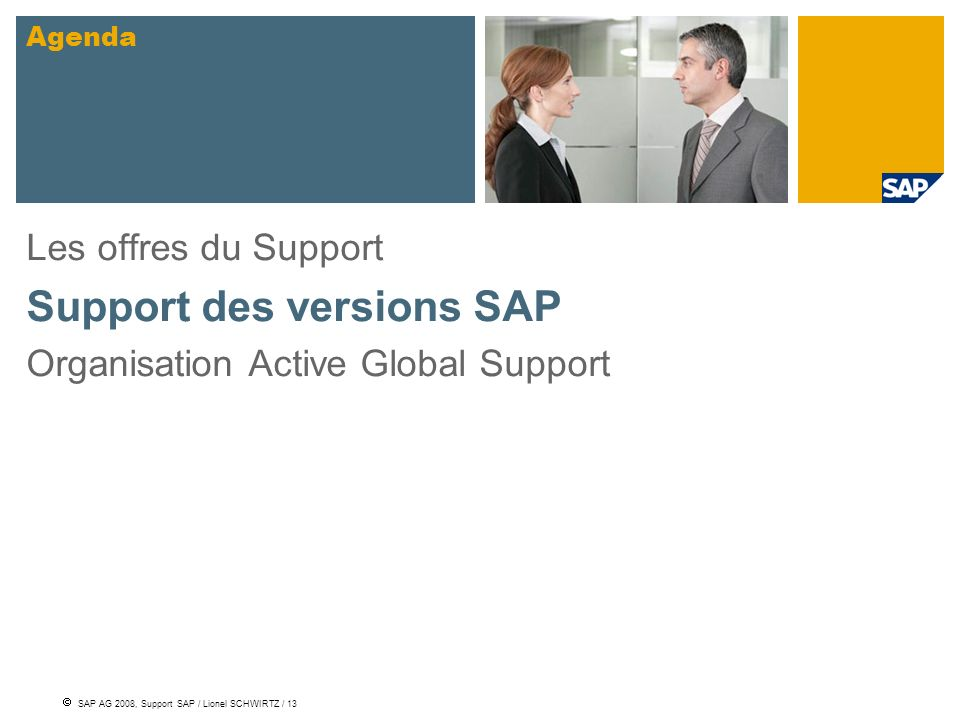 Support des versions SAP