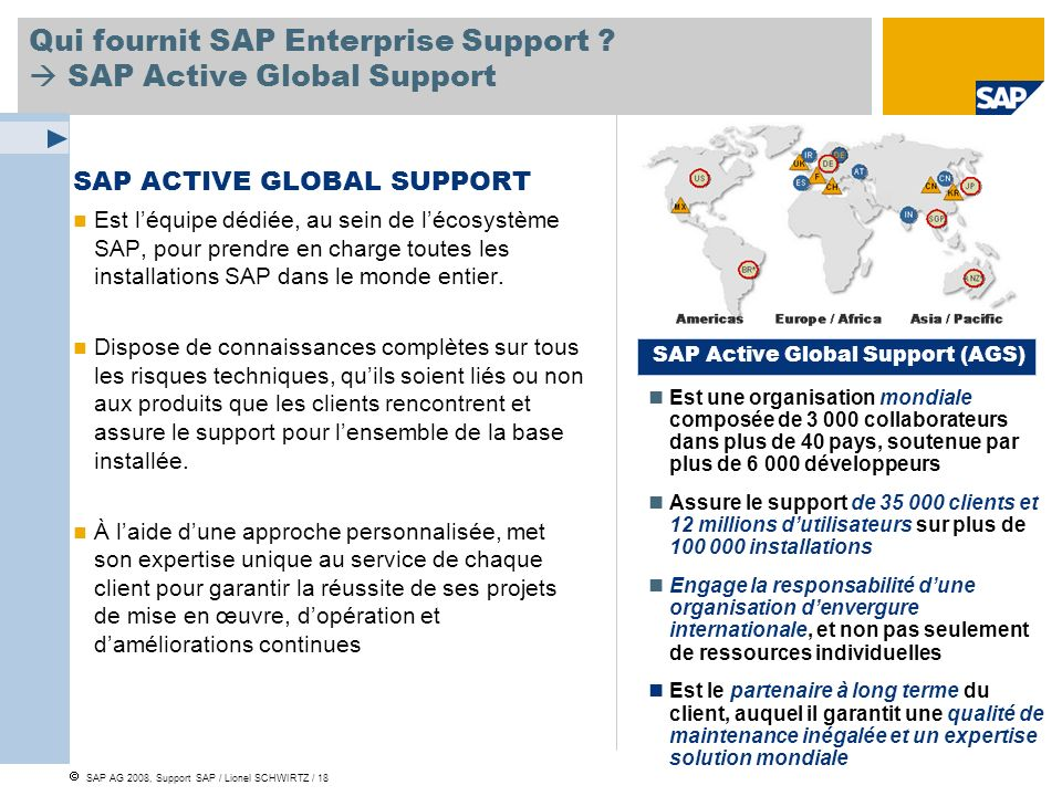 Qui fournit SAP Enterprise Support  SAP Active Global Support