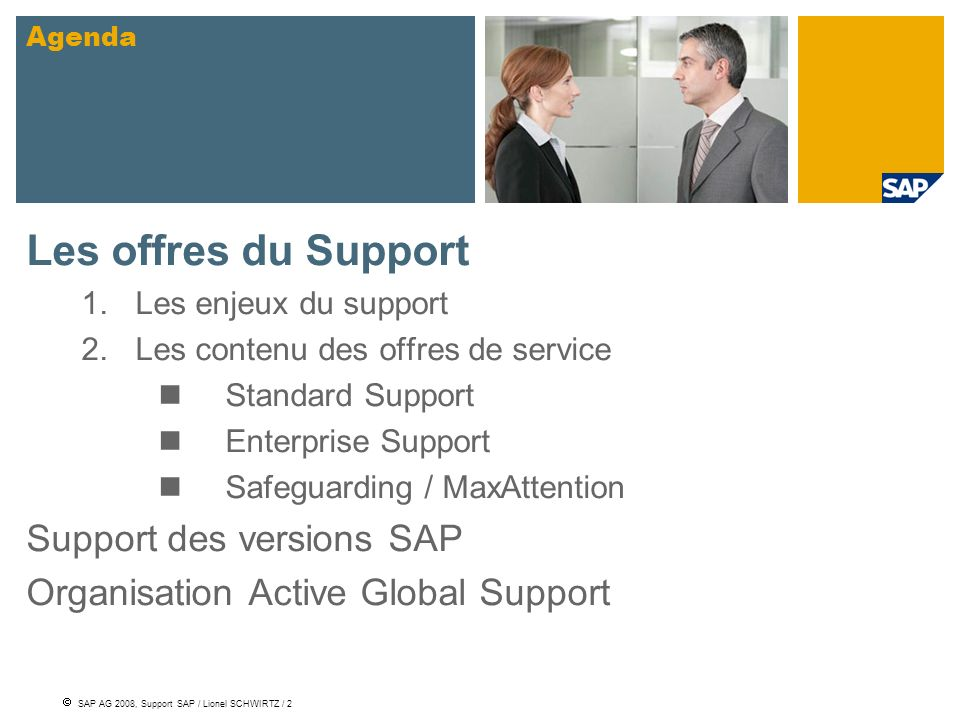 Les offres du Support Support des versions SAP