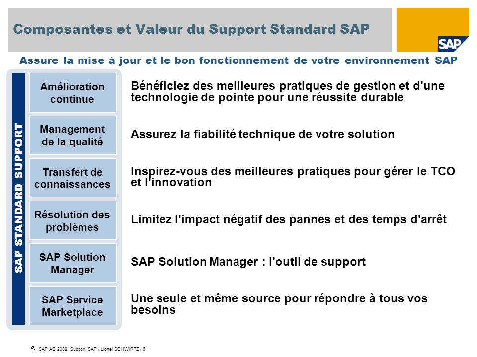Composantes et Valeur du Support Standard SAP