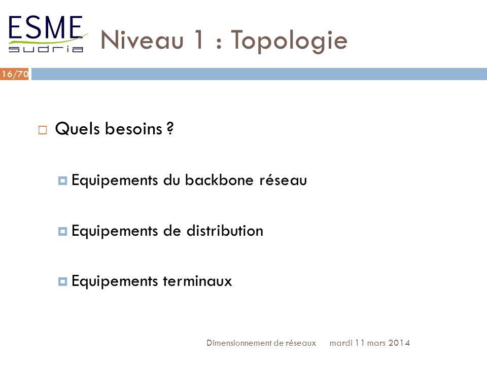 Niveau 1 : Topologie Quels besoins Equipements du backbone réseau
