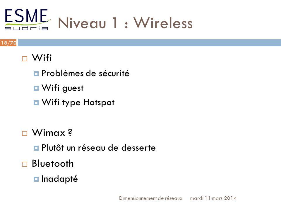 Niveau 1 : Wireless Wifi Wimax Bluetooth Problèmes de sécurité