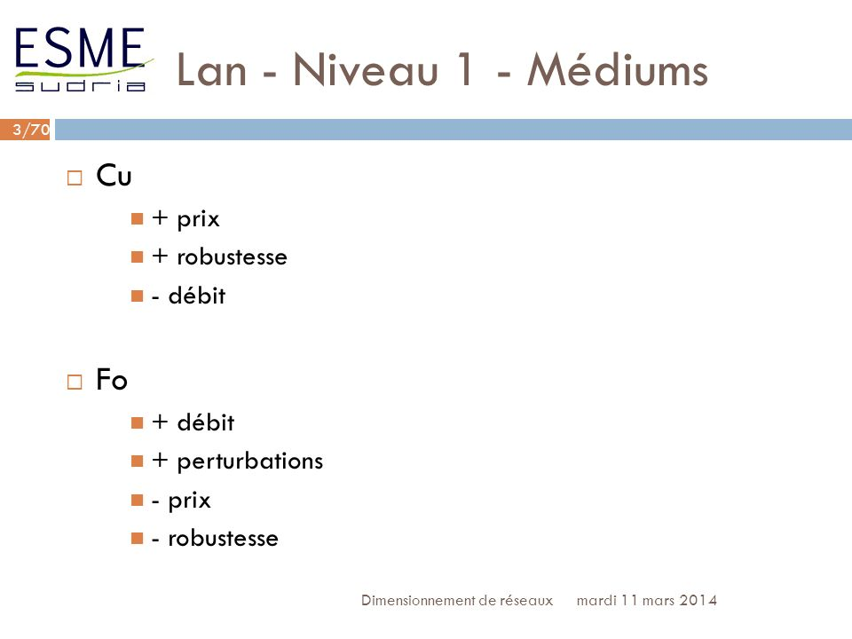 Lan - Niveau 1 - Médiums Cu Fo + prix + robustesse - débit + débit