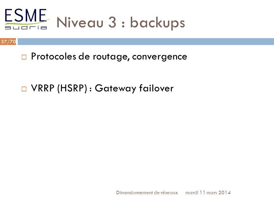 Niveau 3 : backups Protocoles de routage, convergence