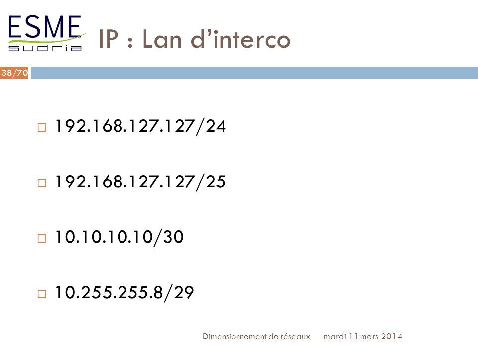 IP : Lan d'interco192.168.127.127/24. 192.168.127.127/25. 10.10.10.10/30. 10.255.255.8/29. Dimensionnement de réseaux.