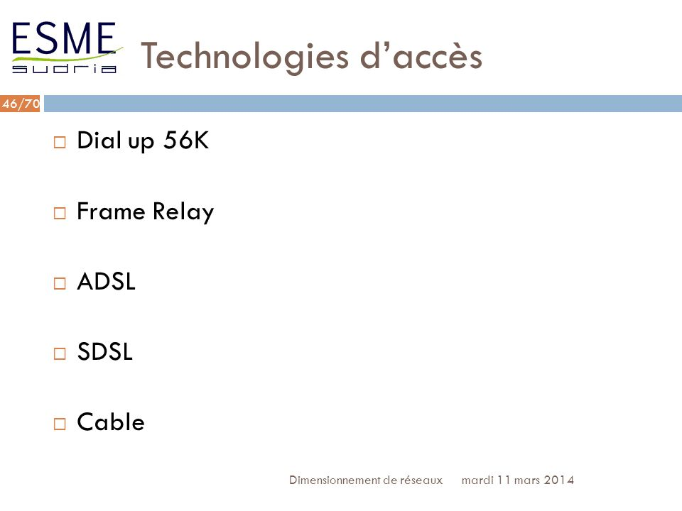Technologies d'accès Dial up 56K Frame Relay ADSL SDSL Cable