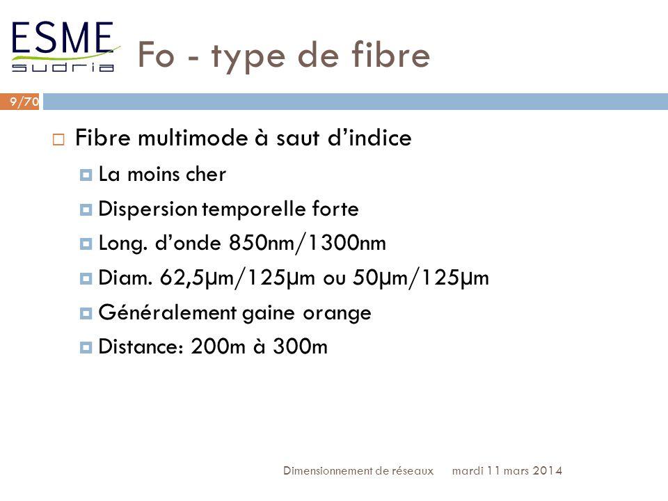 Fo - type de fibre Fibre multimode à saut d'indice La moins cher