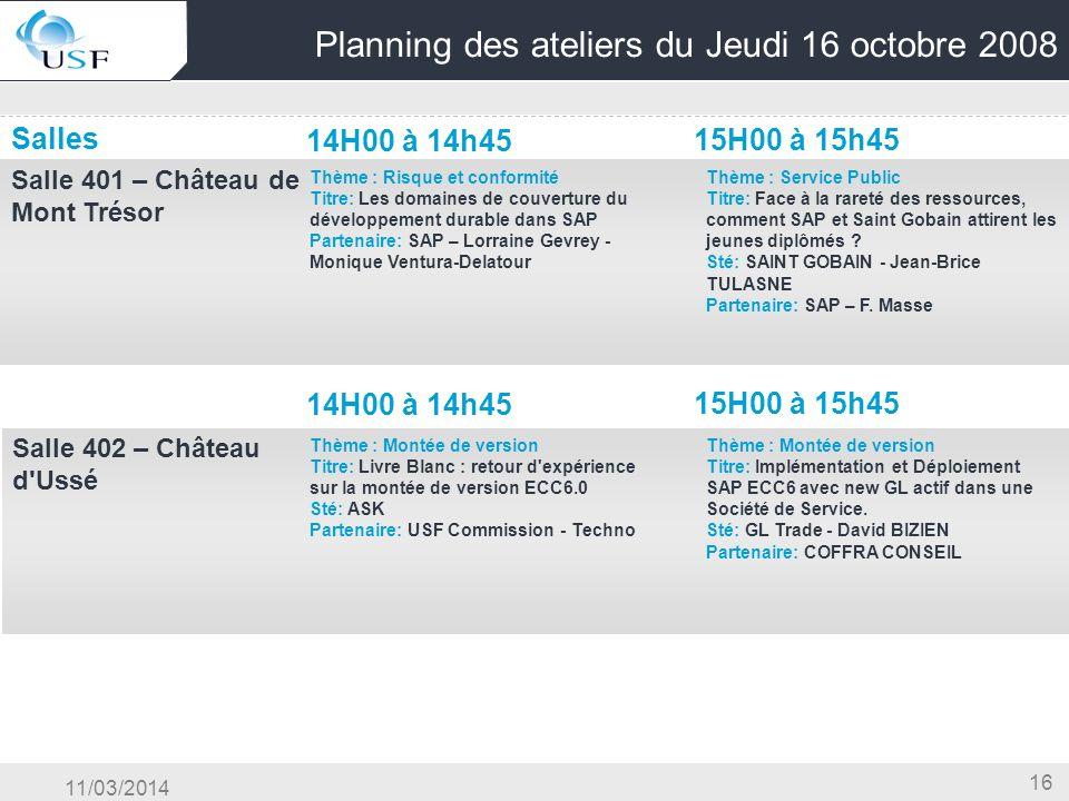 Planning des ateliers du Jeudi 16 octobre 2008