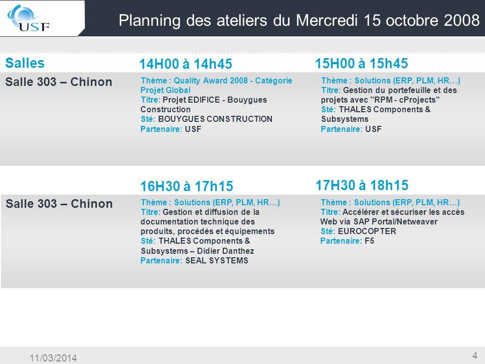 Planning des ateliers du Mercredi 15 octobre 2008