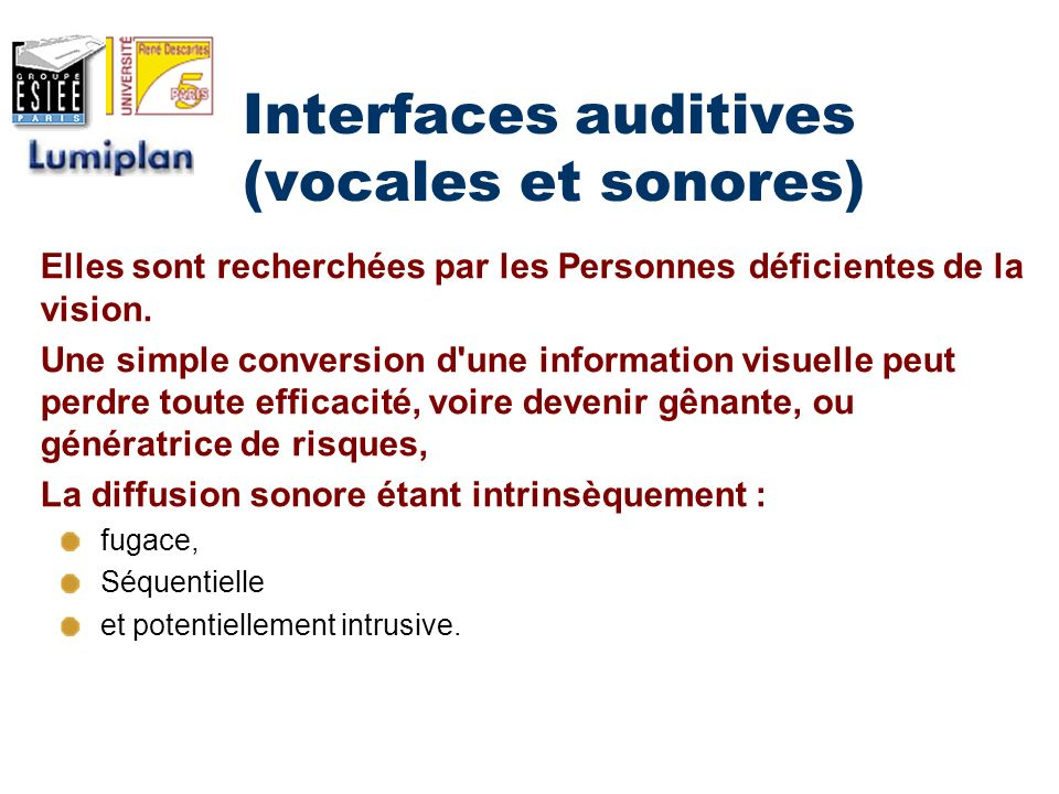 Interfaces auditives (vocales et sonores)