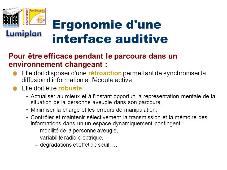 Ergonomie d une interface auditive