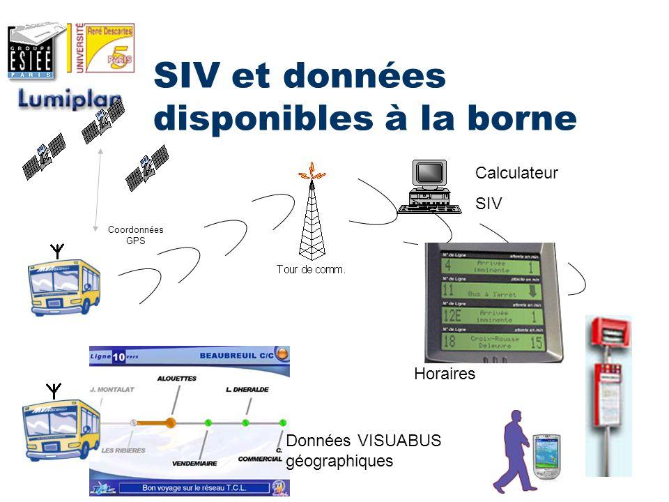 SIV et données disponibles à la borne