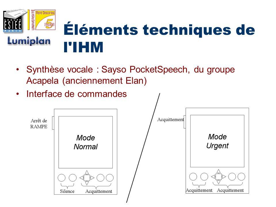 Éléments techniques de l IHM