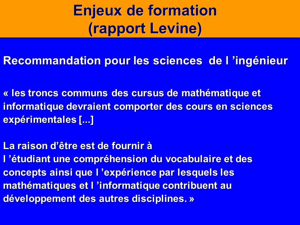 Enjeux de formation (rapport Levine)