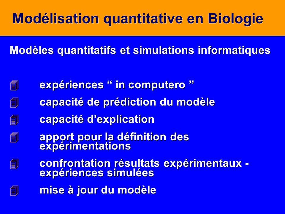 Modélisation quantitative en Biologie