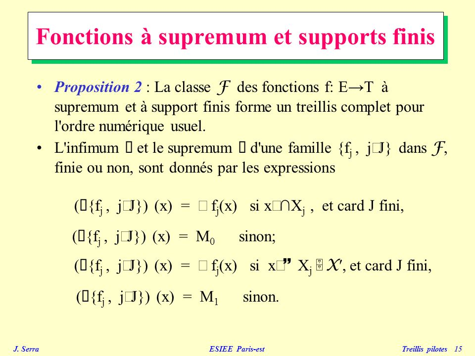 Fonctions à supremum et supports finis