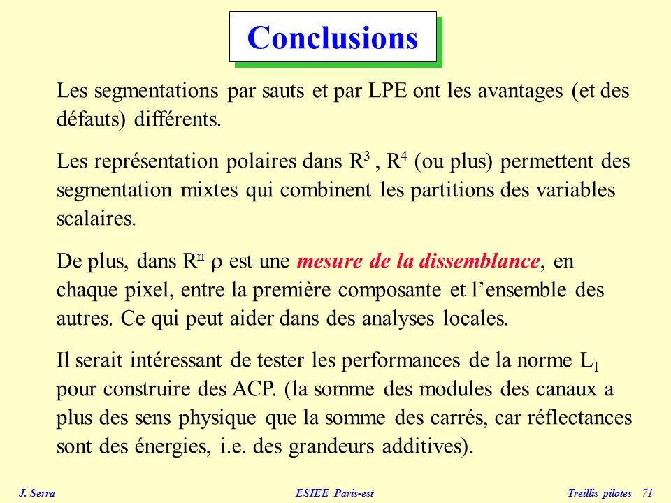 Conclusions Les segmentations par sauts et par LPE ont les avantages (et des défauts) différents.