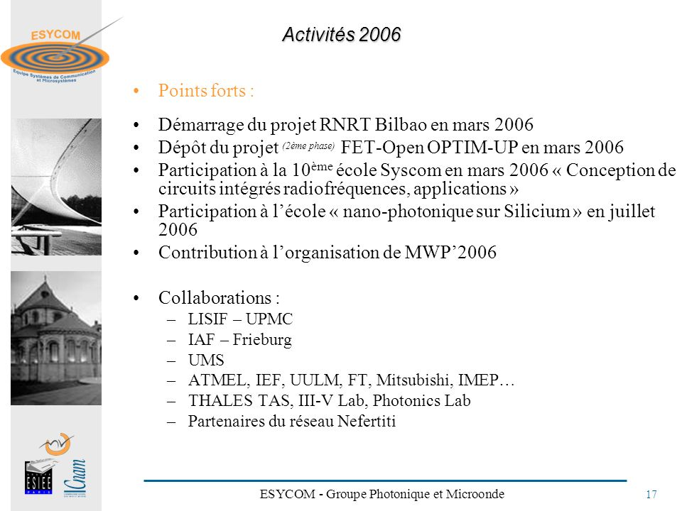 ESYCOM - Groupe Photonique et Microonde 17