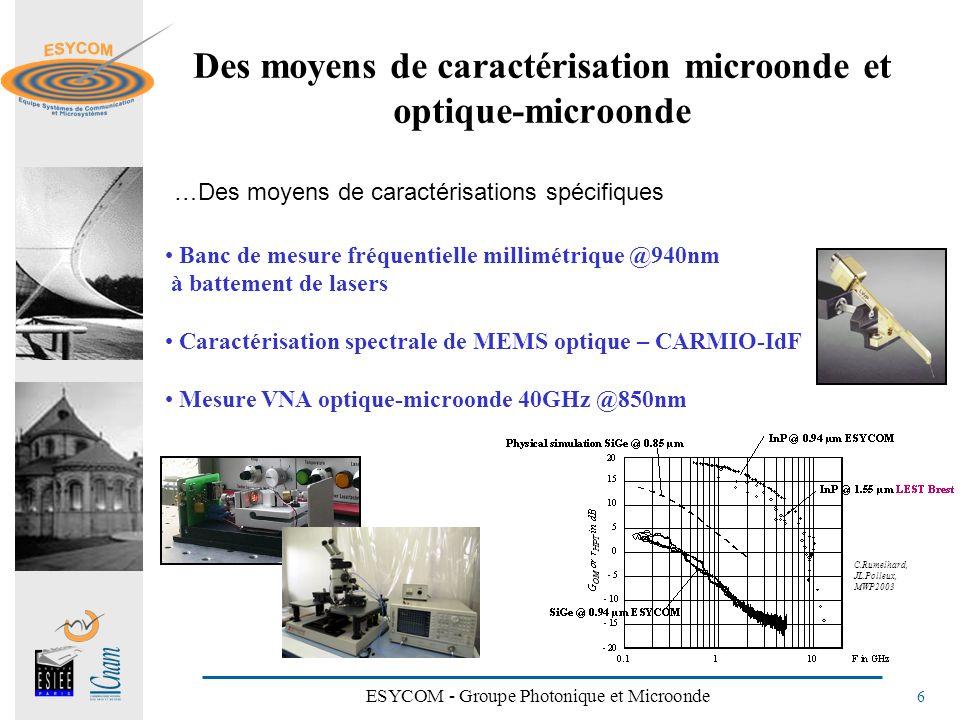 Des moyens de caractérisation microonde et optique-microonde