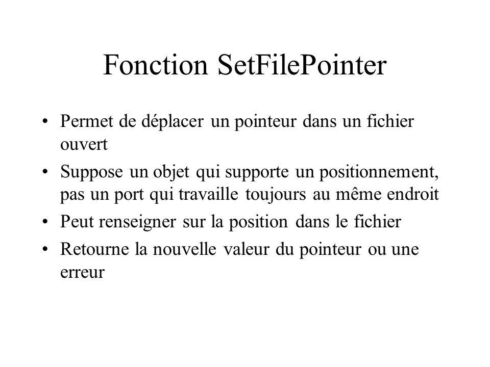 Fonction SetFilePointer