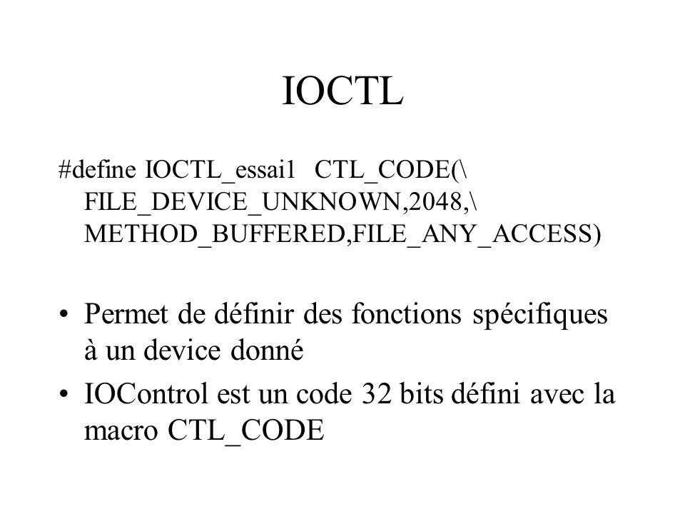 IOCTL Permet de définir des fonctions spécifiques à un device donné