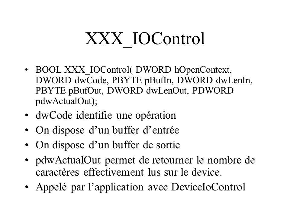 XXX_IOControl dwCode identifie une opération