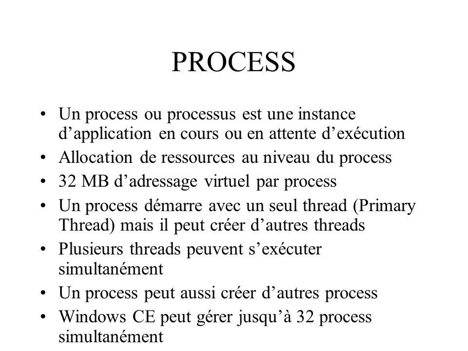 PROCESS Un process ou processus est une instance d'application en cours ou en attente d'exécution. Allocation de ressources au niveau du process.