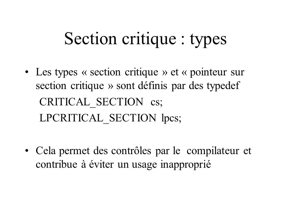 Section critique : types
