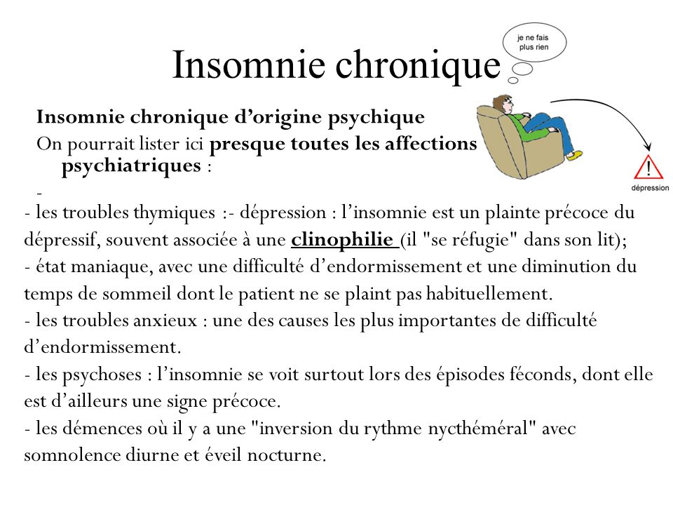 Insomnie chronique Insomnie chronique d'origine psychique