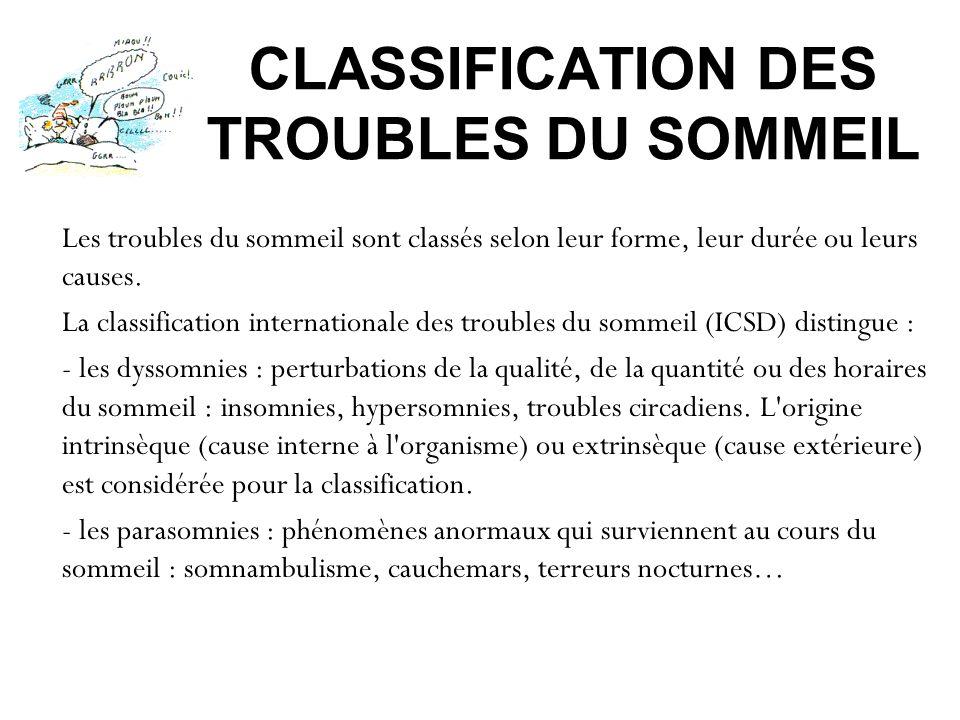 CLASSIFICATION DES TROUBLES DU SOMMEIL