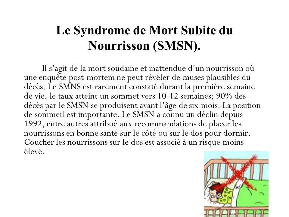 Le Syndrome de Mort Subite du Nourrisson (SMSN).