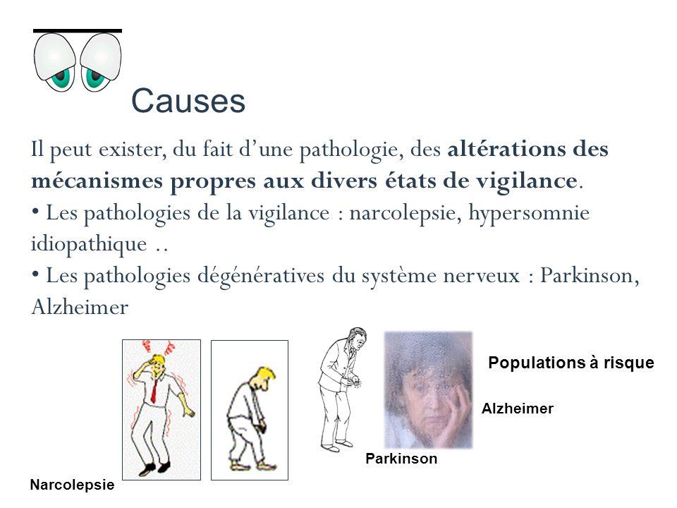 Causes Il peut exister, du fait d'une pathologie, des altérations des mécanismes propres aux divers états de vigilance.