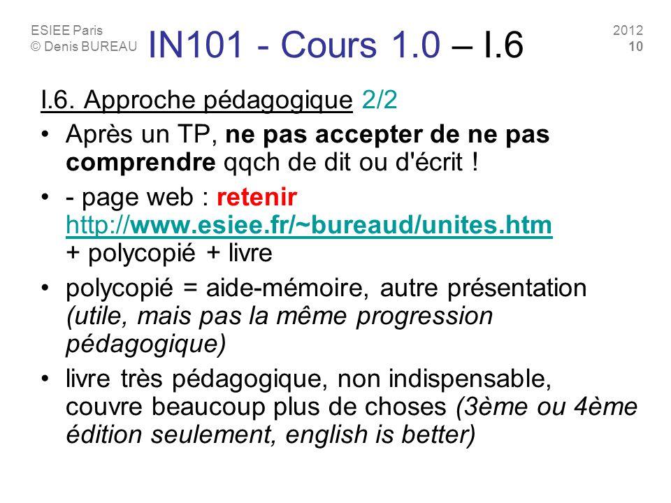 IN101 - Cours 1.0 – I.6 I.6. Approche pédagogique 2/2